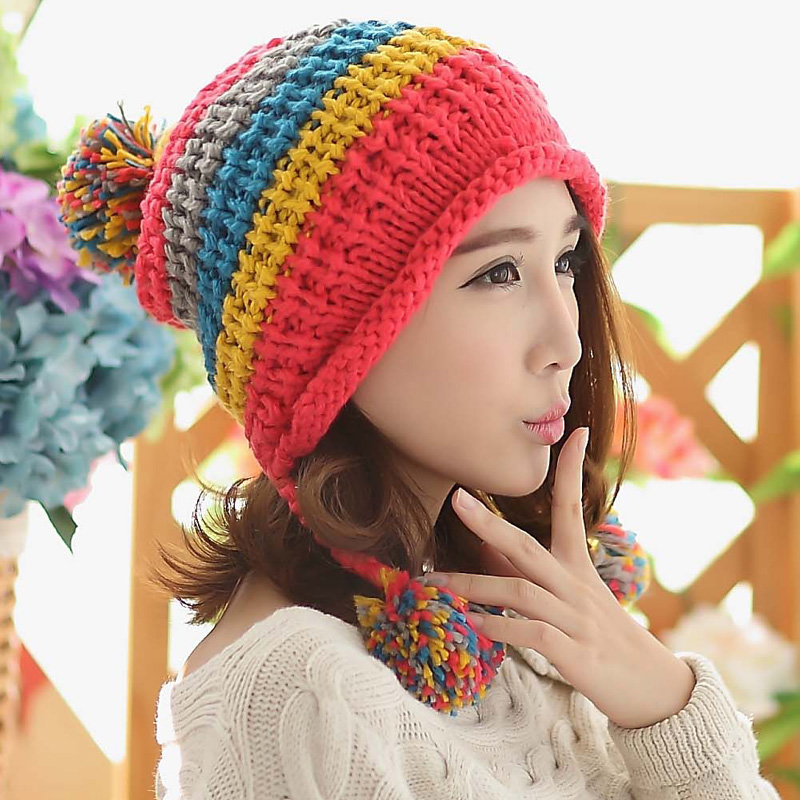 BomHCS Fashion Mosaic Winter Women Hat With Three Balls Lady Cute Handmade Ear Muff Warm Knitted Hats Beanie bomhcs korean cute autumn winter warm color mosaic knitted hat ear muff 100% handmade women beanie cap