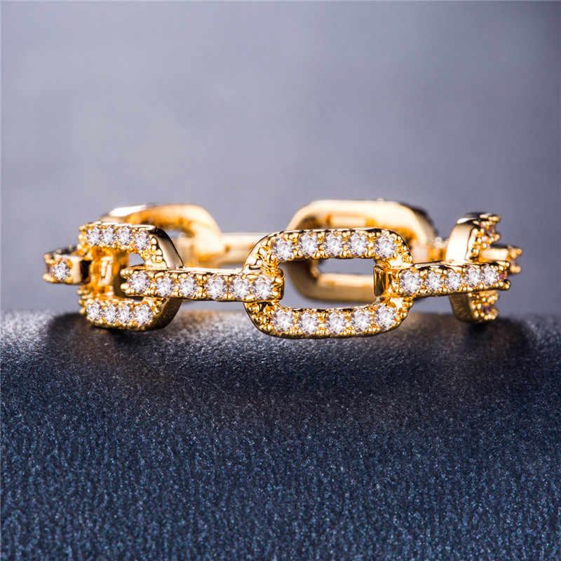 Huitan Creative Chain ผู้หญิงแหวน Micro Paved Destiny Link คู่แหวนสำหรับแฟน & แฟนร้อนขายรายการ