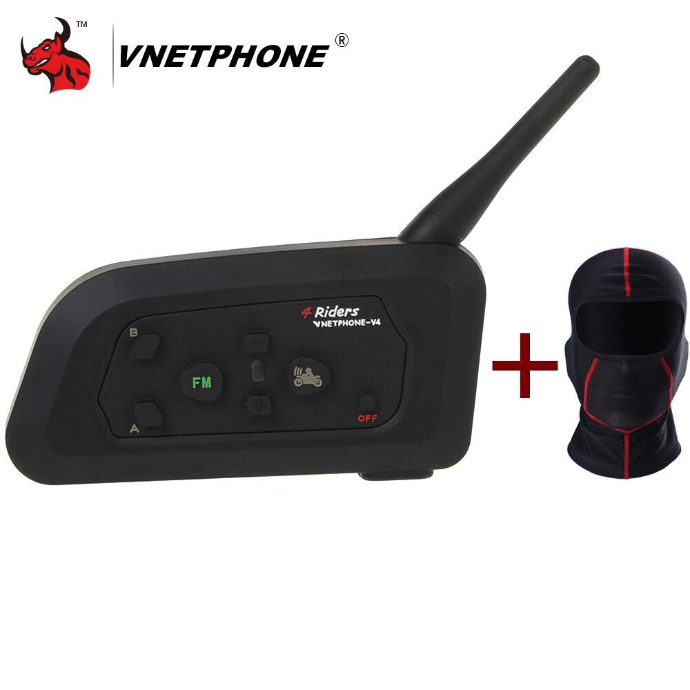 VNETPHONE V4 Moto Bluetooth Casque Interphone Casque 1200 M Moto Sans Fil BT Interphone Pour 4 Coureurs Interphone