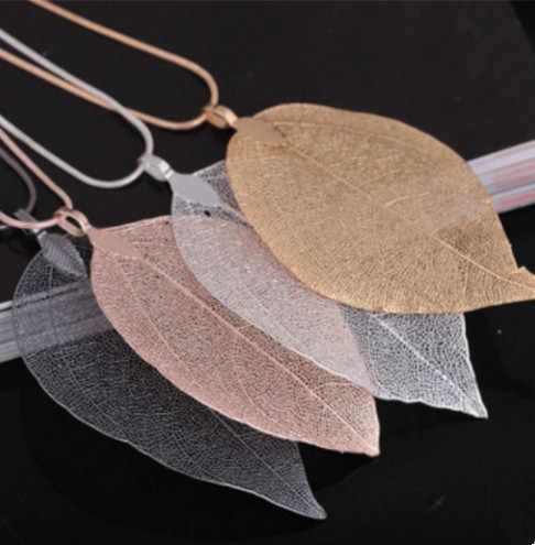 2019 4 colors Fashion Real Natural Leaves Leaf Pendant Necklace Long Sweater Chain For Women Boho Unique Statement Jewelry Gift