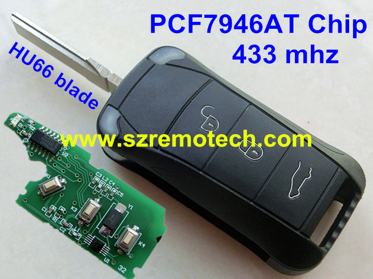 Free Shipping New Uncut Remote Key 3 Button 433MHz ID46 PCF7946AT Chip HU66 Blade Fit For