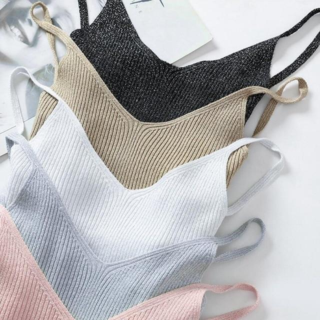 تيشيرت صيفي جذاب للنساء من bygoby Lurex برقبة على شكل حرف V بدون أكمام قميص منسوج ضيق للنساء