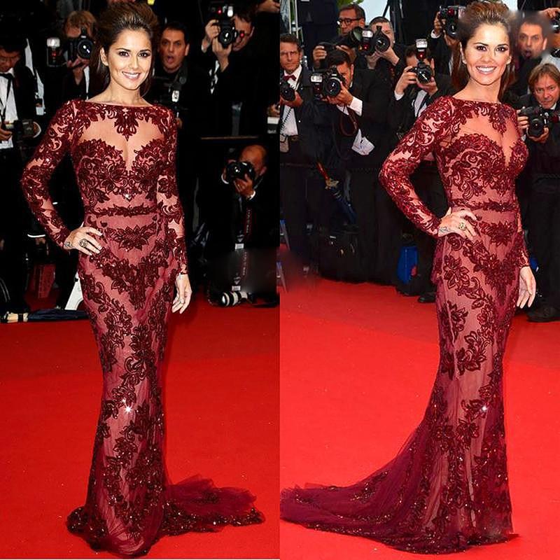 Free shipping Cheryl Cole Zuhair Murad Dress Cannes Celebrity Dress New Arrival Mermaid Nude Lace Burgundy Long Sleeve Evening dress.jpg