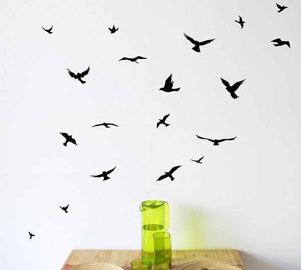 JJRUI bandada de pájaros volando habitación decoración etiqueta de - Decoración del hogar - foto 2