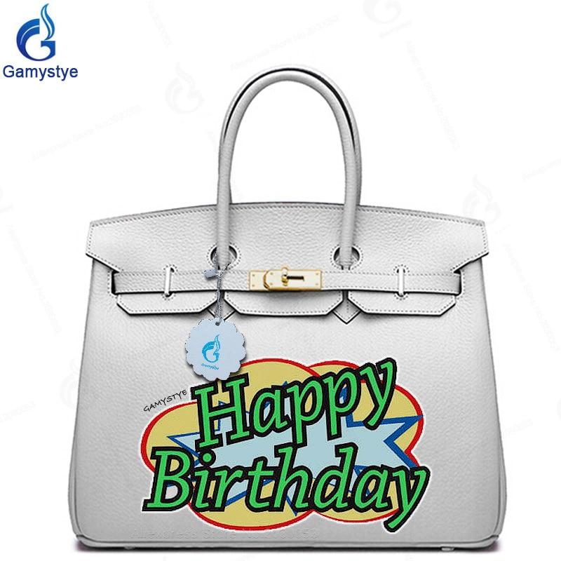 POP ART GIFT Happy Birthday Gift Bags Real Cowskin Leather Handbags Women Tote Designer Graffiti Purses Custom Shoulder Bag