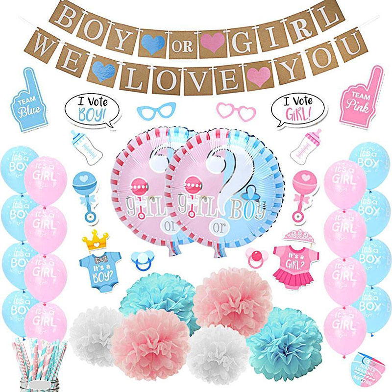 83pcs Latex Round Balloon Gender Reveal Party Decoration Air Ball Pink Blue Baby Sex Revealing Decor Balloon Bunting Set