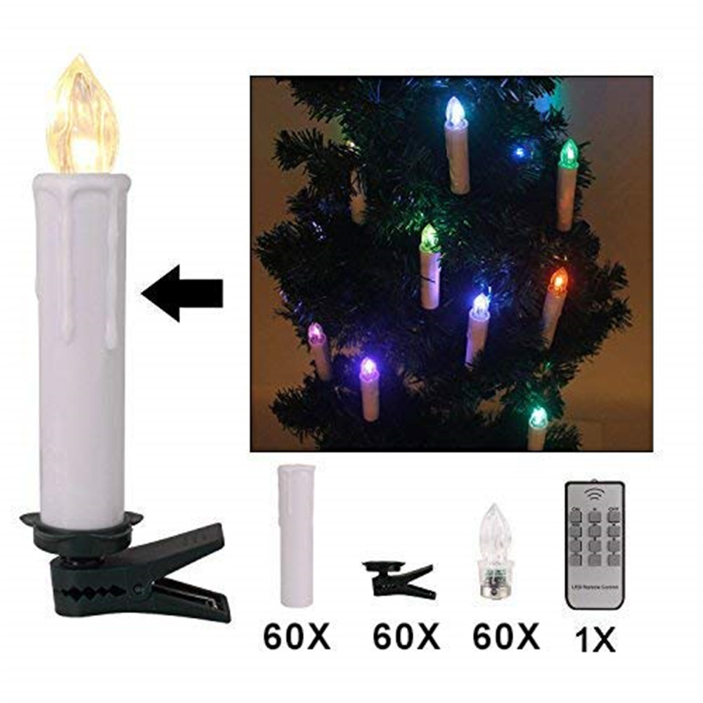 60 шт. светодиодный подсвечник с зажимами для дома, вечерние свадебные украшения, дистанционное управление, светодиодный беспламенный беспроводной рождественские свечи, лампа - 2