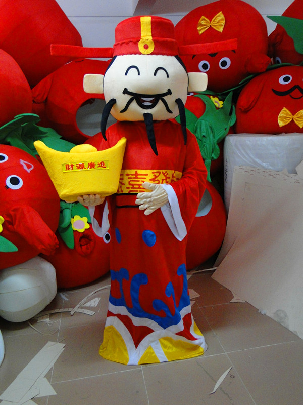 High-quality adult size mascot costume Chinese God of Wealth, Chinese Mammon mascot