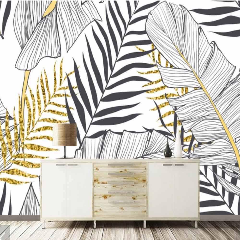 Europeu 3D Pintura À Mão Preto Branco Folhas de Bananeira Foto Papel De Parede Mural para Murais Sofá TV Fundo papel de Parede Rolos de Papel Impresso