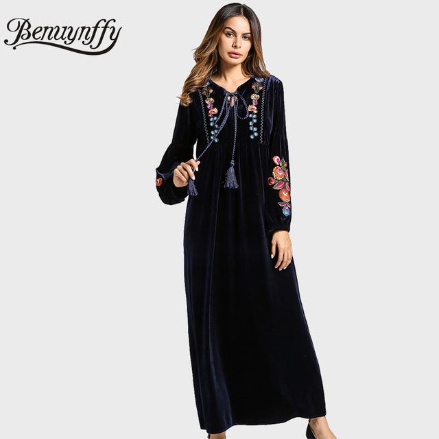 Benuynffy Lace Up V Neck Winter Velvet Dress Women Loose Clothing 2018 Navy  Long Sleeve Floral Embroidery Maxi Dress Q865 5e2328430d