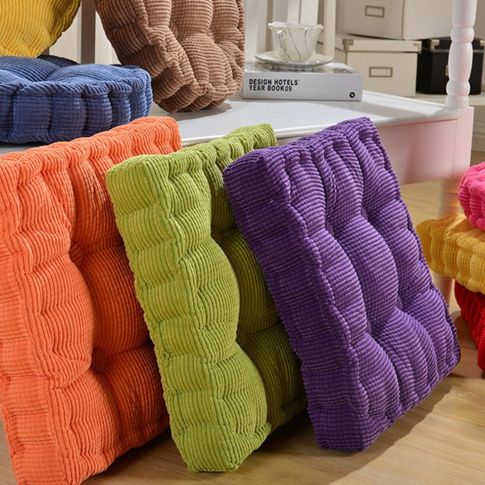 2019 Winter New Solid Color Dining Chair Cushion Square Cushion Thickening Office Velvet Cushion Home Decoration Sofa Cushion