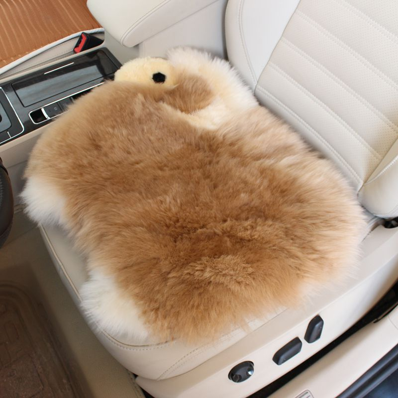 Cute Cartoon Lambs Wool Car Seat Cover Winter Australian Wool Car Seat Cushion Fur Chair Pads Hairy for Car Office Home 1PCS