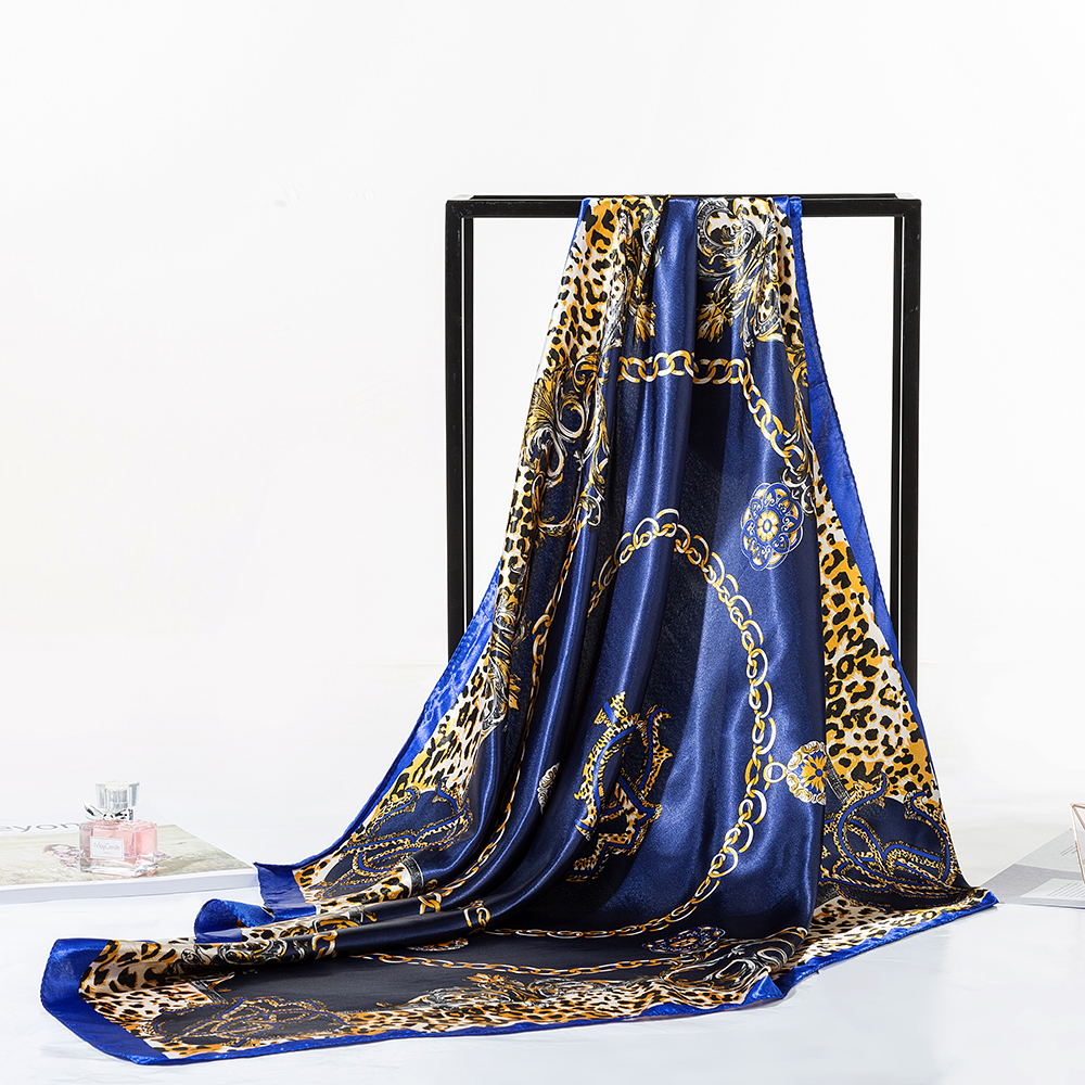 Woman Satin Silk Scarf Square Hair Scarves Fashion Pattern Neck Scarfs for Women Leopard Print Luxury Scarf AA10130 in Women 39 s Scarves from Apparel Accessories
