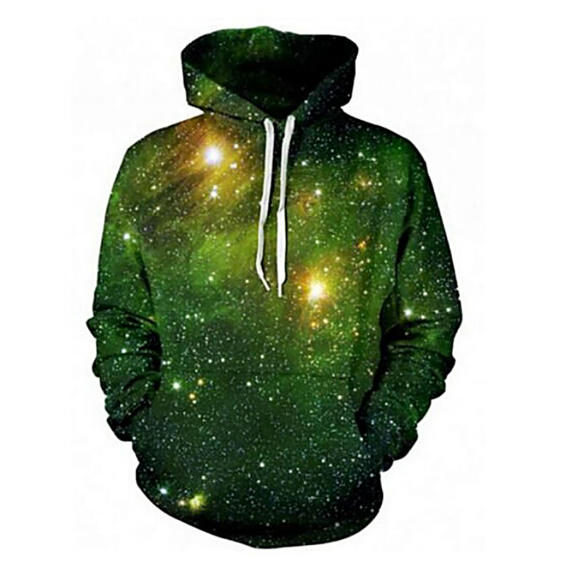 New Cool 3D Universe Printed Men's Hoodies Galaxy Space Fashion Hip Hop Style Pullovers Homme Green Color Unisex Streetwear