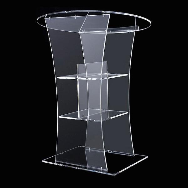 Clear  Rostrum Led Bar Speaker Pulpit Podium Table Furniture Crystal Pmma Acrylic Plexiglass Lectern Logo Customize Plexiglass