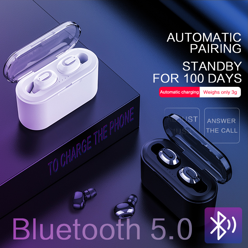 KSUN BT-01 TWS 5.0 Bluetooth earphone 3D stereo wireless earphone with dual microphone luces led de policía