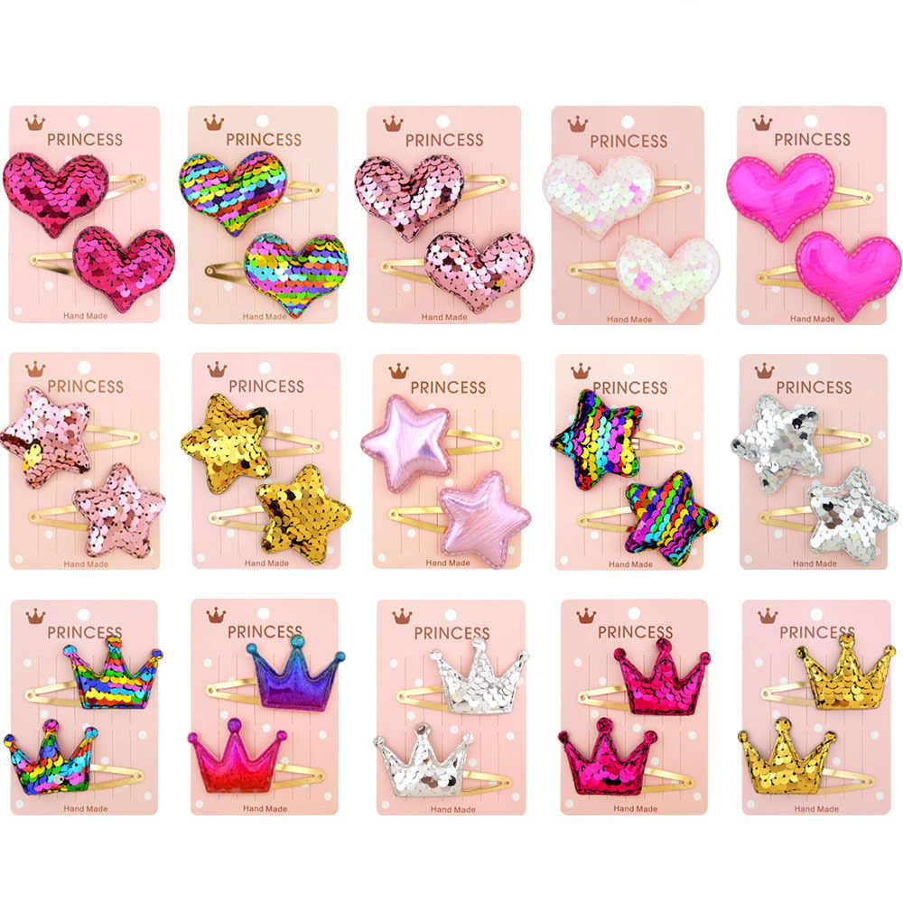 2PCS Colorful Sequin Hair Clips for Girls Kids Geometric Crown Heart Star Hairpin Hairgrip BB Barrettes Child Hair Accessories