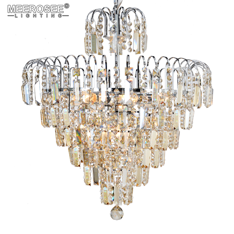 Hot Sale Luxurious Crystal Chandelier Light Transparent/Cognac Crystals Lustres Hanging Drop Lamp for Home Living Dining Room