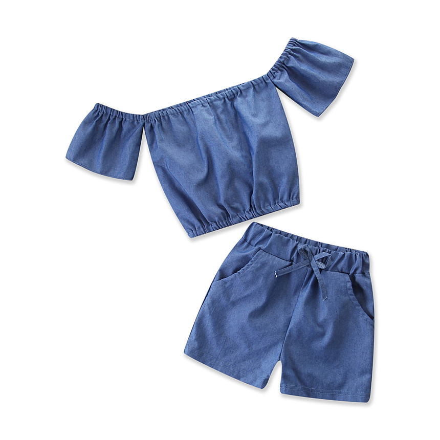 Baby Girl Clothes Pure Color Two-piece Suit Off Shoulder Tops+shorts Girls Clothing Set Toddler Kids Set Children Outfit 1-5Y 3pcs toddler kids baby girl clothes set denim tops t shirt tutu skirt headband outfits summer cowboy suit children set 0 5y