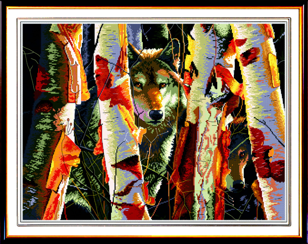 Animal Guardians of White Birch DMC Cross Stitch Kit Canvas 11CT Accurate Printed Embroidery DIY Handmade Needle Work Home Decor