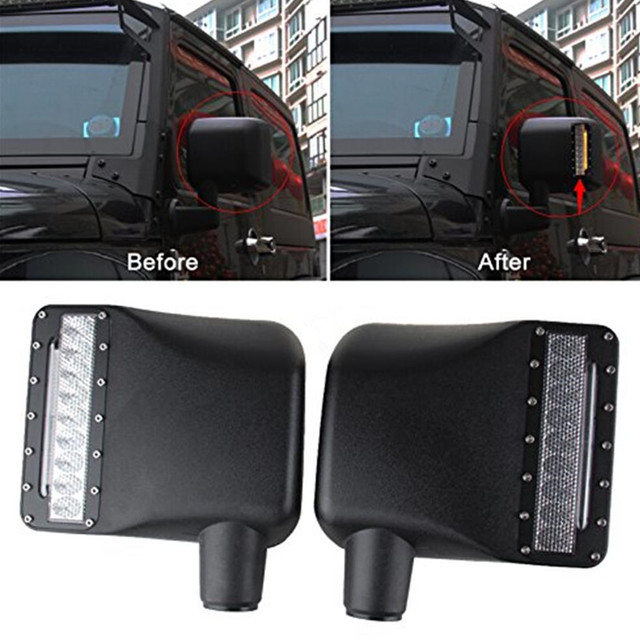 2x For Jeep Wrangler Rear View Side Mirrors Housing Lights