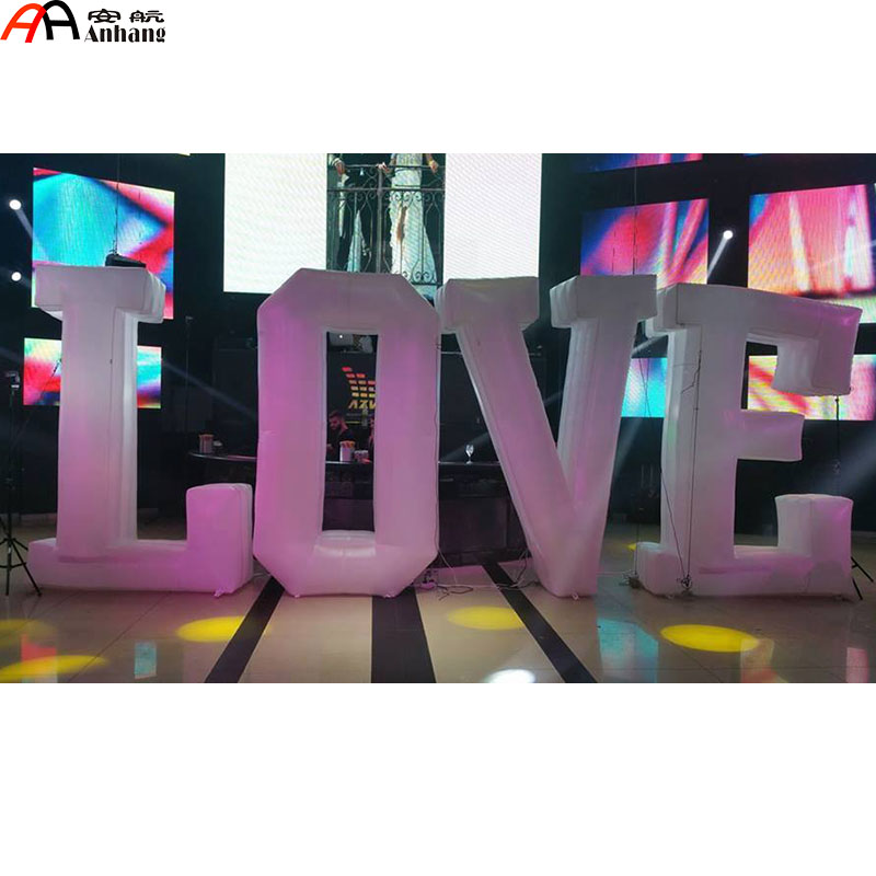 Feee Shipping Big Wedding Inflatable Love Letters With LED Light