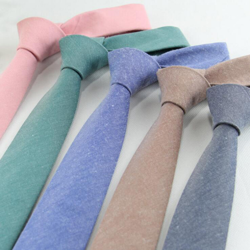 RBOCOTT Cotton Ties Solid Necktie 6cm Slim Tie Men's Casual Plain Skinny Neck Tie Blue Gray Green Red For Men Business Wedding
