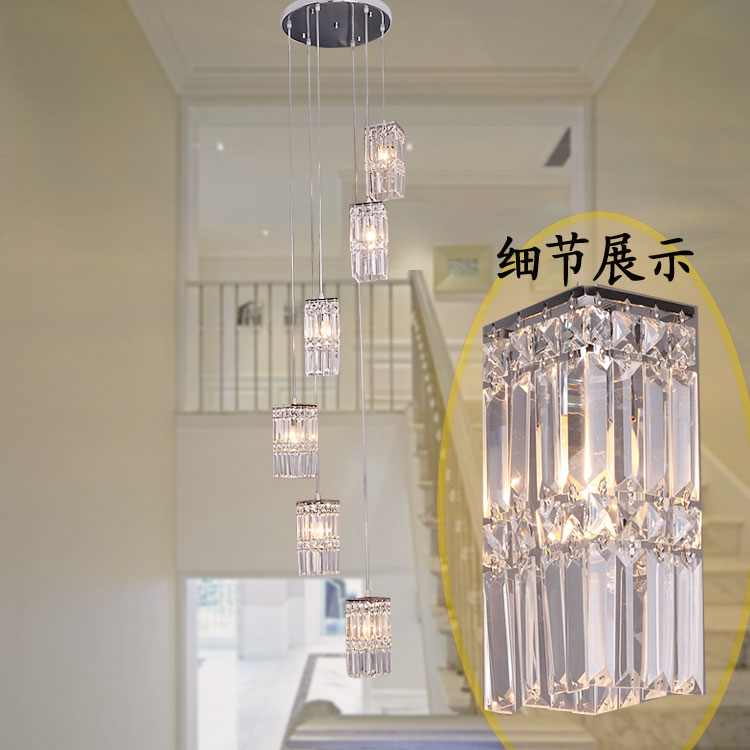 Simple exquisite metal crystal Double staircase Pendant lamps crystal lamp rotating staircaser lamp Pendant Lights FG34