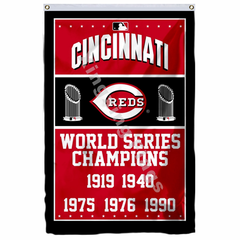 Cincinnati Reds World Series Champions Flag 3ft X 5ft Polyester MLB Banner Flying Size No.4 144* 96cm Custom Flag