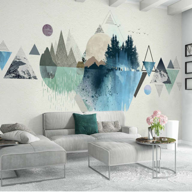 Online Shop Free Shipping 3d Pink And Blue Wallpaper Geometric ...
