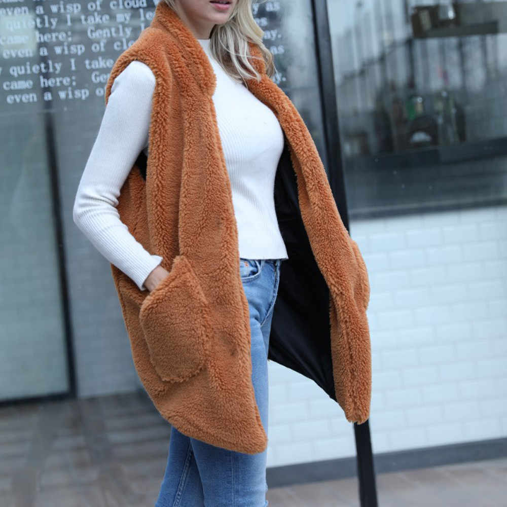 a03e7a62d0e ... Srogem Warm Winter Coat Fleece Vest Women Waistcoat polly Pocket Bayan  Yelek Sherpa Kamizelka Jott Weste