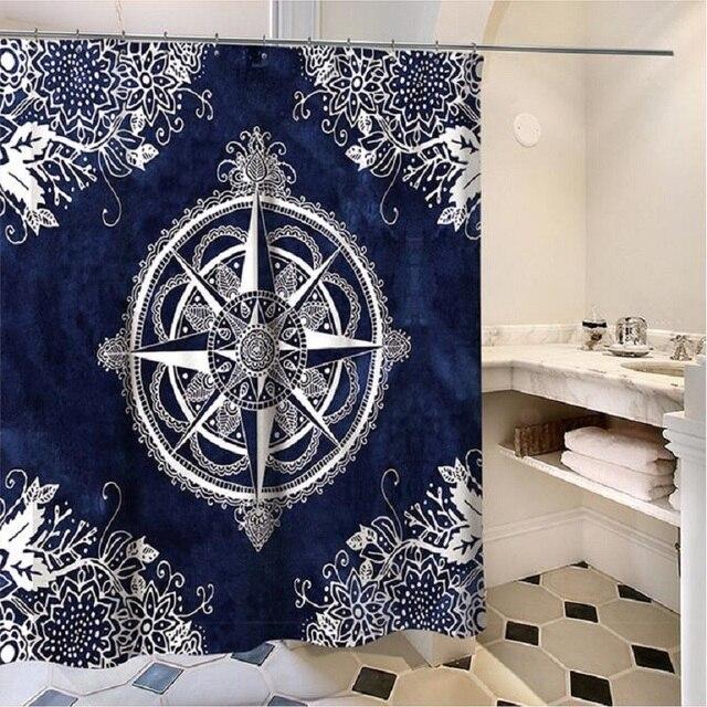 Compass Mandala Clock Shower Curtains Rideau De Douche Cortina Ducha Bathroom Supplies Products H255