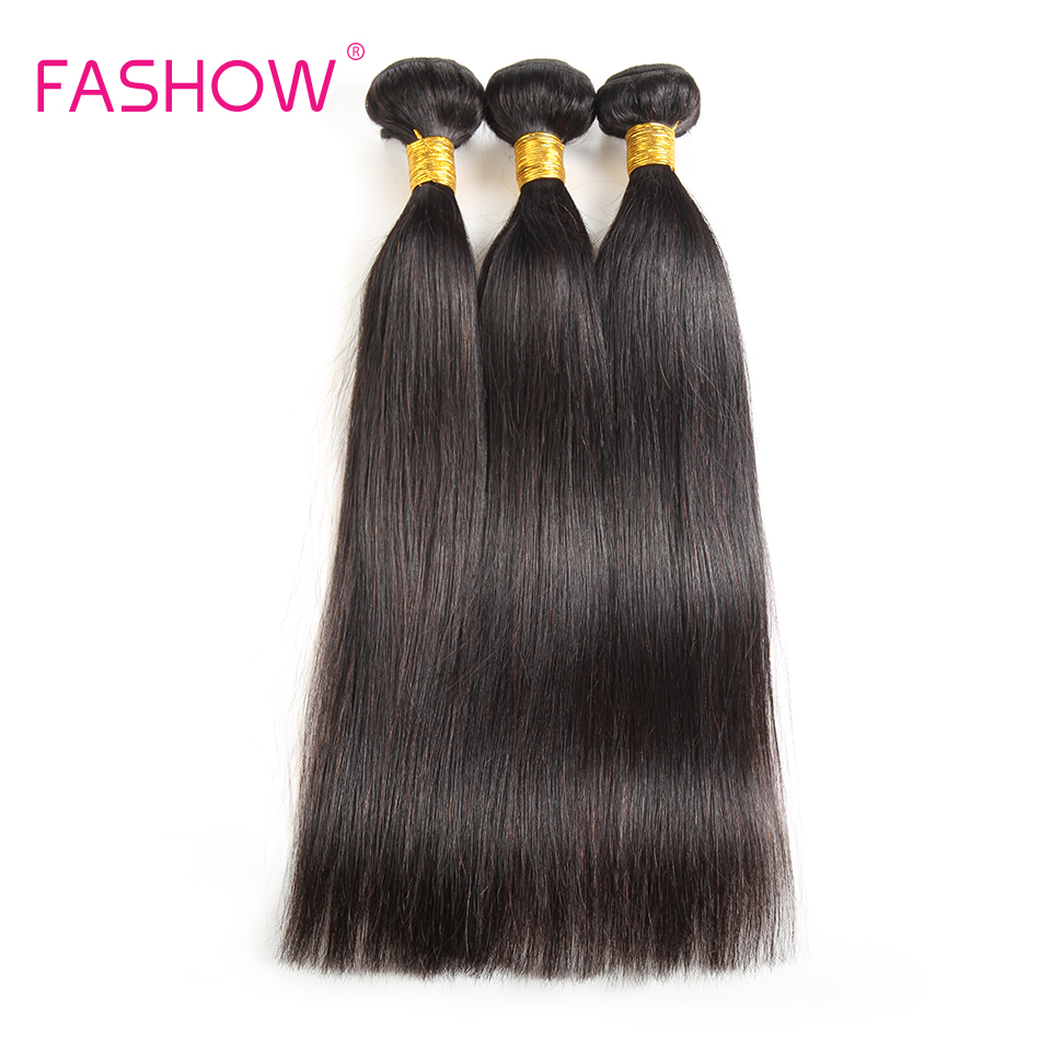 Fashow Raw Indian Hair Straight 3 Bundles Human Hair Weave Non Remy Hair Weave Natural Color