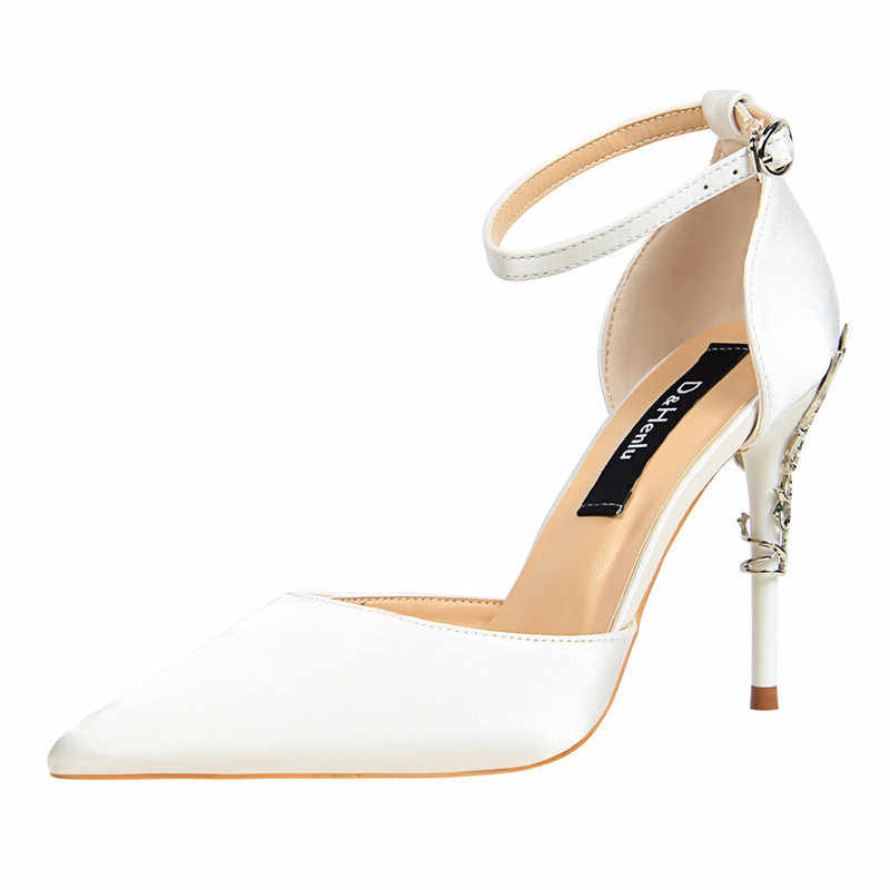 {D & Henlu} جديد الصيف أحذية امرأة المرأة دورسي و اثنين قطعة عالية الكعب الحرير الأصفر الخناجر منحوتة المعادن كعب أحذية الحفلات
