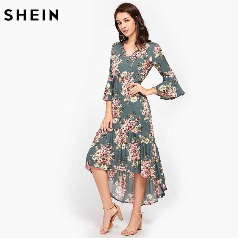 SHEIN Tie Neck Flare Sleeve Frilled Dip Hem Dress Multicolor Floral Print V Neck Three Quarter Length Sleeve High Low Dress floral v neck high low dress