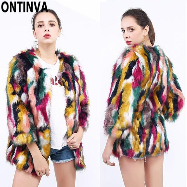 03cc212c1 2018 Faux Fur Coats Colorful Jackets Women Winter Fox Fur Overcoat Soft  Warm Rainbow Color Female Plus Size 3XL 2XL L Outerwear