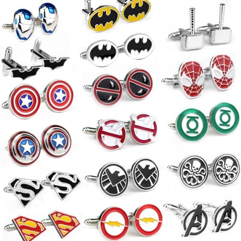 The Movie Avengers A Letter Logo Cufflinks Superhero Thor Star Wars Flash Deadpool Batman Tie Clips For Men Party Shirt Jewelry