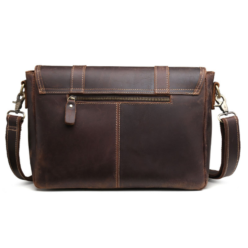 Crazy Horse Koeienhuid Cross Body Tas Mannen Tas Business Messenger Aktetas Reizen Casual Vintage Schoudertas Lederen Tas - 5