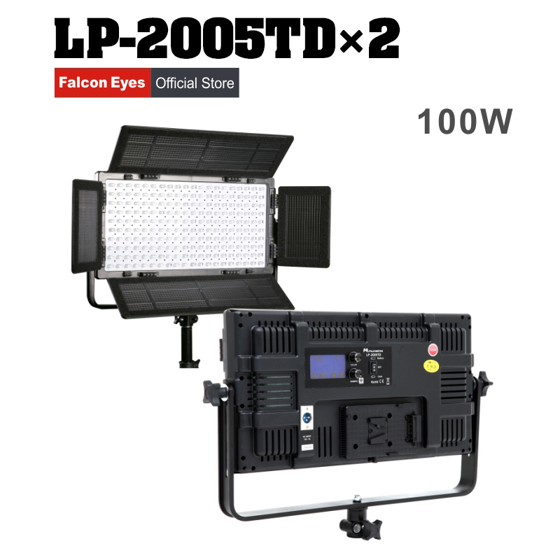 Falcon Eyes 100W Bi-Color LED Video Studio Panel Light Foto Fill Lamp Fotografi Kontinuerlig Lighting LP-2005TD Kit Set