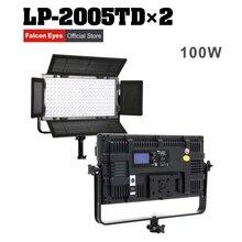 Olhos Falcon 2 pçs/lote 100 W Regulável LCD DMX512 CONDUZIU a Luz Do Painel de LED Luz de Vídeo foto iluminação de Estúdio LP-2005TD