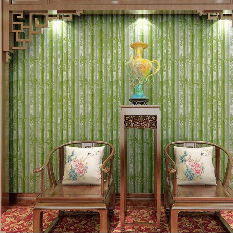 Free Shipping Chinese classical green bamboo forest wallpaper farmhouse restaurant bedroom living room TV background wallpaper free shipping chinese ink classical retro wallpaper mural living room tv room wallpaper