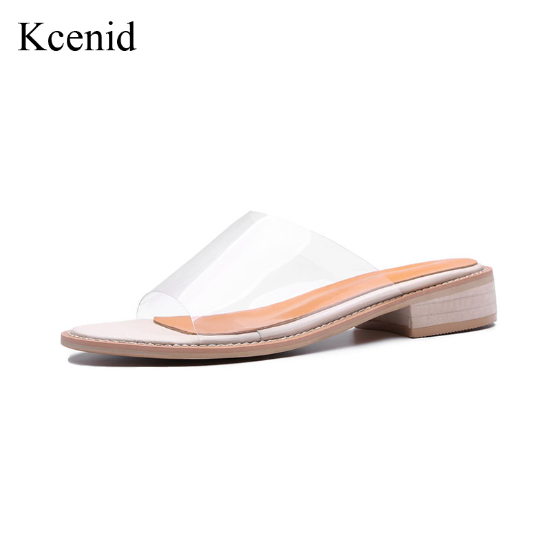 Kcenid Transparent sandals 2018 new summer fashion peep toe beach leisure shoes woman slip on low