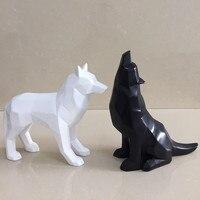 Yeni Ürünler Siyah ve Beyaz Kurt Heykelcik Basit Geometrik Origami Hayvan Heykel Ev Dekorasyon
