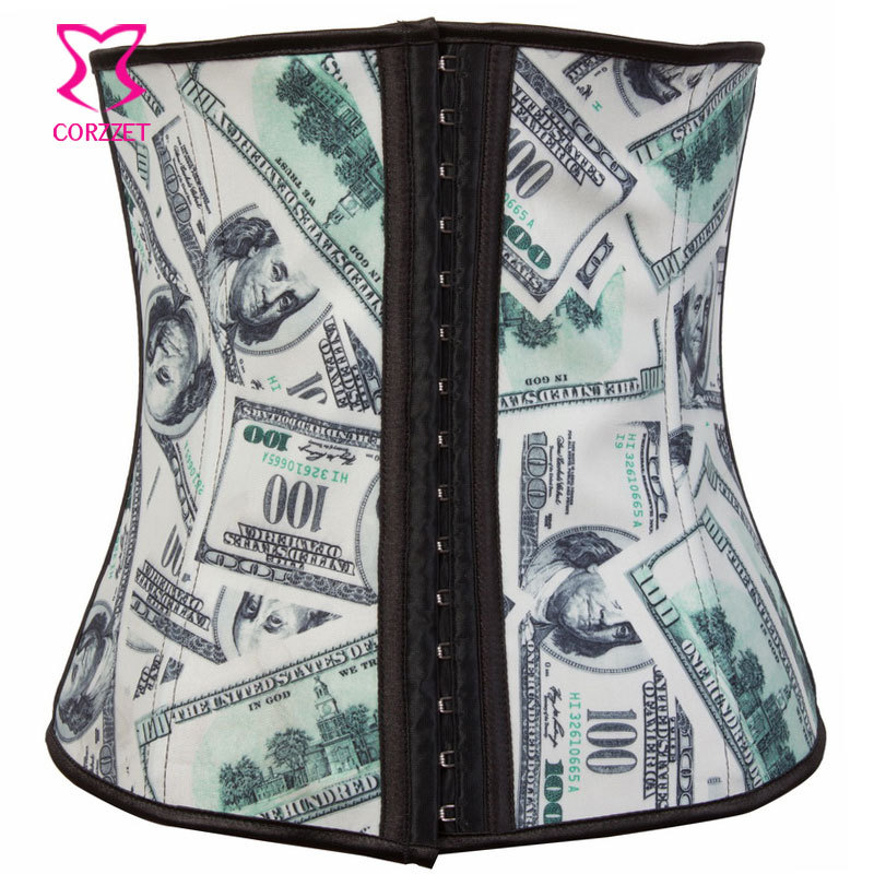 Rain Money Printed Underbust Corset Latex Waist Cincher Latex Waist Trainer Steel Boned Waist Slimming Corsets and Bustiers ...