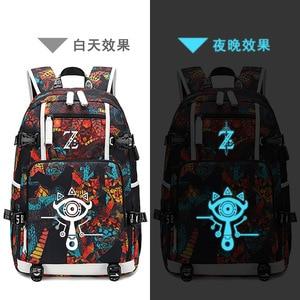 Image 5 - The Legend of Zelda:Breath of the Wild Game Printing Zelda Backpack Canvas School Bags USB Charging Laptop Backpack Travel Bags