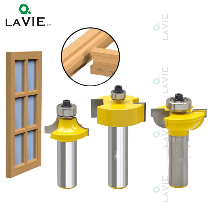 LA VIE 3pcs 1/2  Shank Router Bits Set Round Over Bead Frame Door For Woodworking Milling Cutter Power Tool PTAS02036 volta la frame for la 208 top 2014