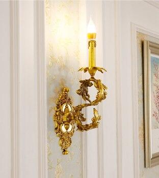 Phube الإضاءة النمط الفرنسي النحاس الجدار مصباح فيلا غرفة المعيشة غرفة الطعام غرفة نوم السرير الجدار ضوء المصباح الشمعدان شحن مجاني