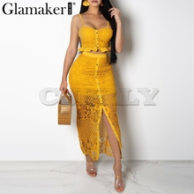 CUERLY Hollow out sexy yellow long dress Women white lace ruffle maxi night Bodycon summer red holiday party beach