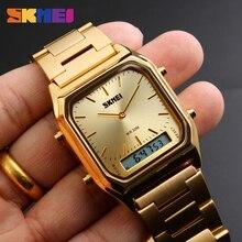 SKMEI Luxury Men Golden Watch Digital Quartz Men's Watches Dual Time Display Clock Wristwatches Male Watch Relogio Masculino1220 все цены