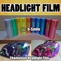 12 Roll/Lot Rainbow Chameleon Headlight Film Taillight Tint Fog Light Vinyl Wrap